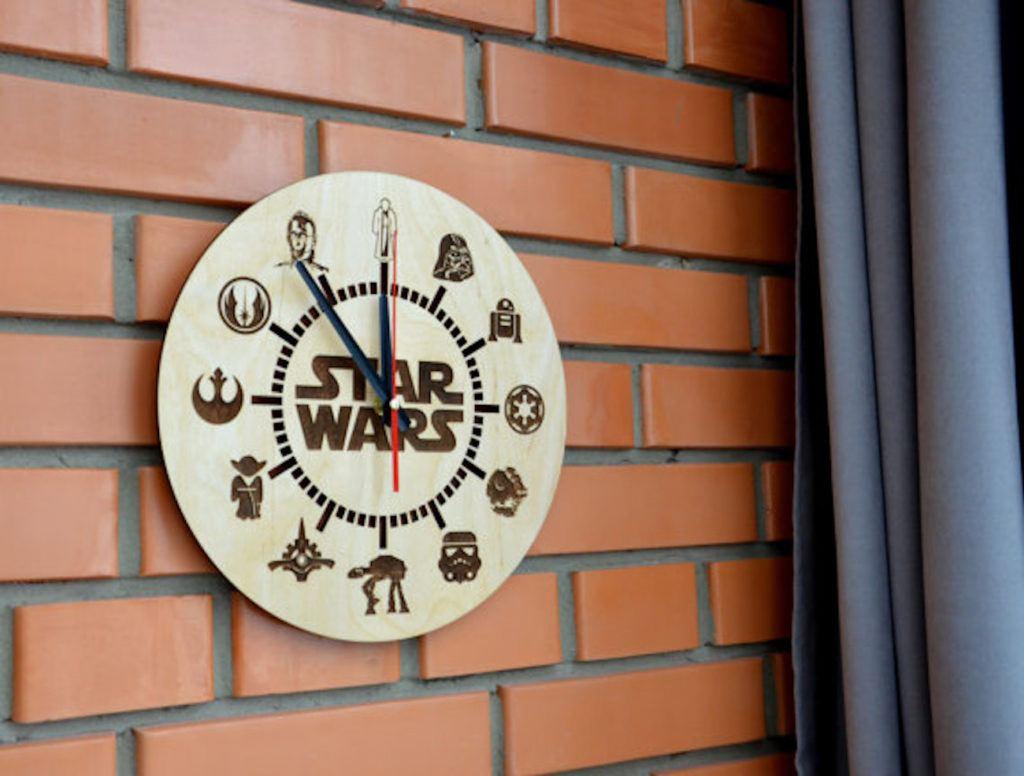 Engraved Wood Star Wars Clock