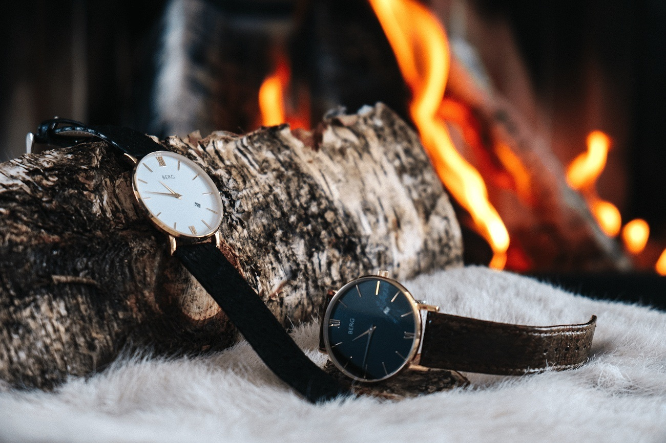 The BERG Luxury Minimalist Watches Use Real Salmon Leather