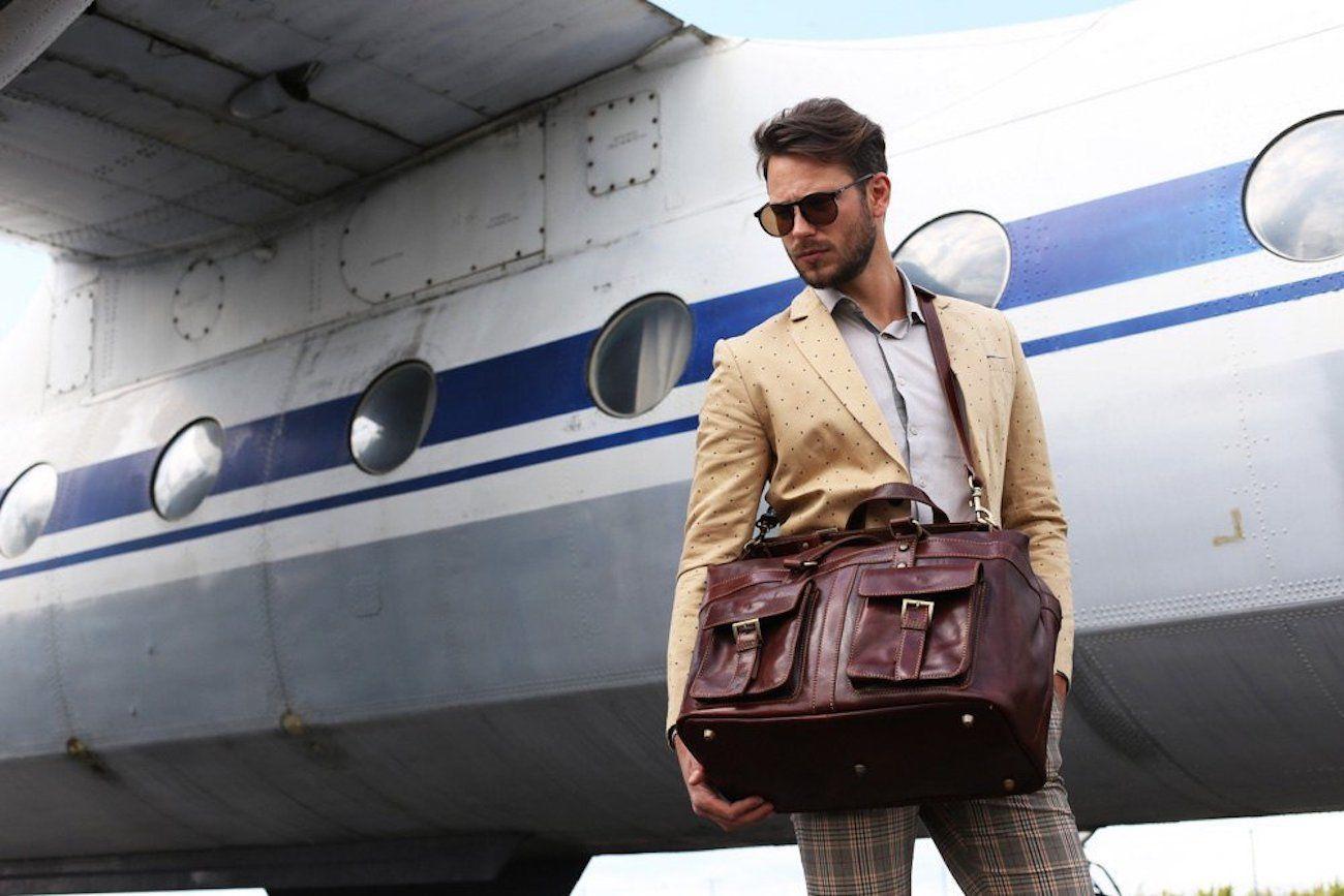 Magic Mountain Leather Duffle Bag