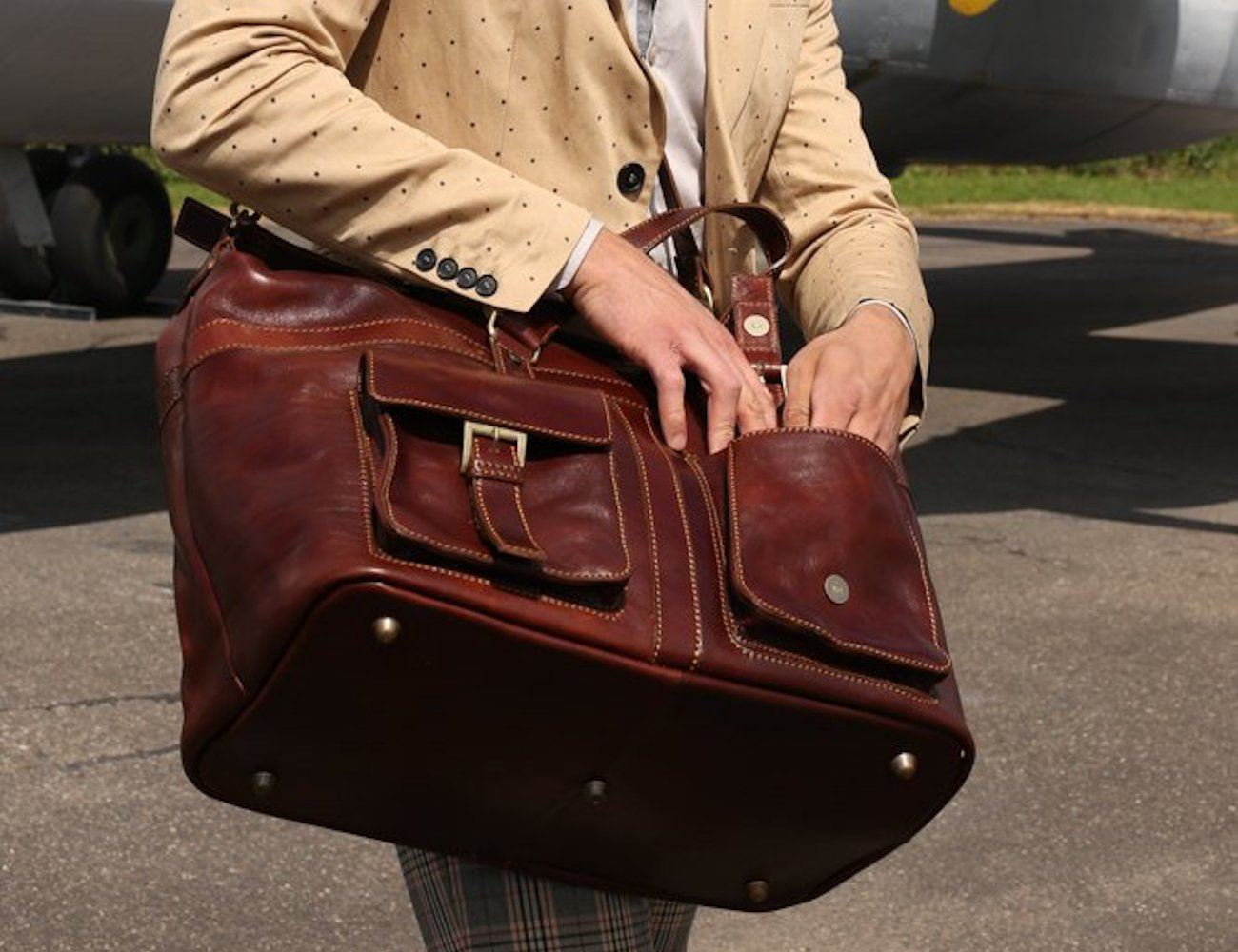 Magic Mountain Leather Duffle Bag