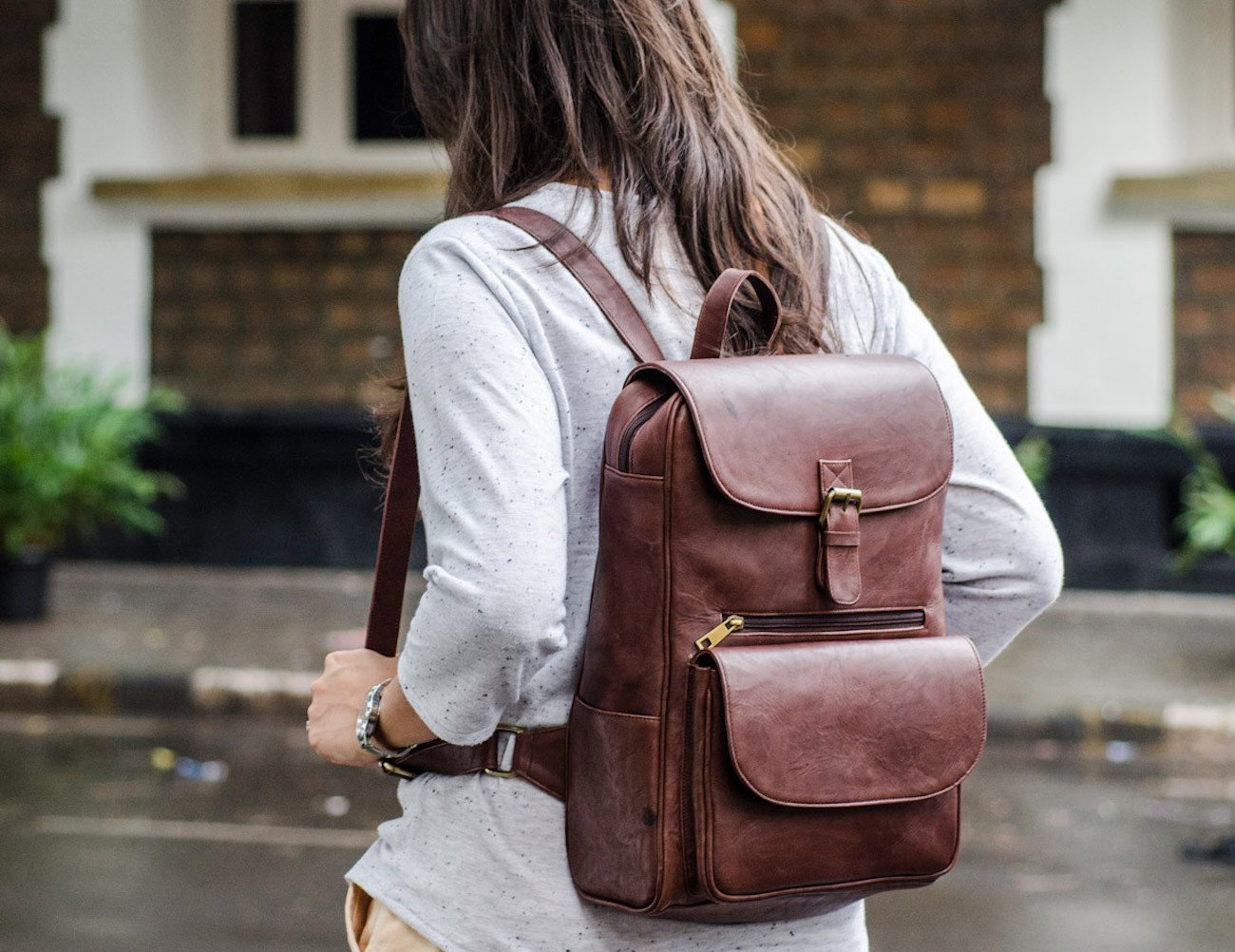 Rustic Brown Leather Laptop Backpack
