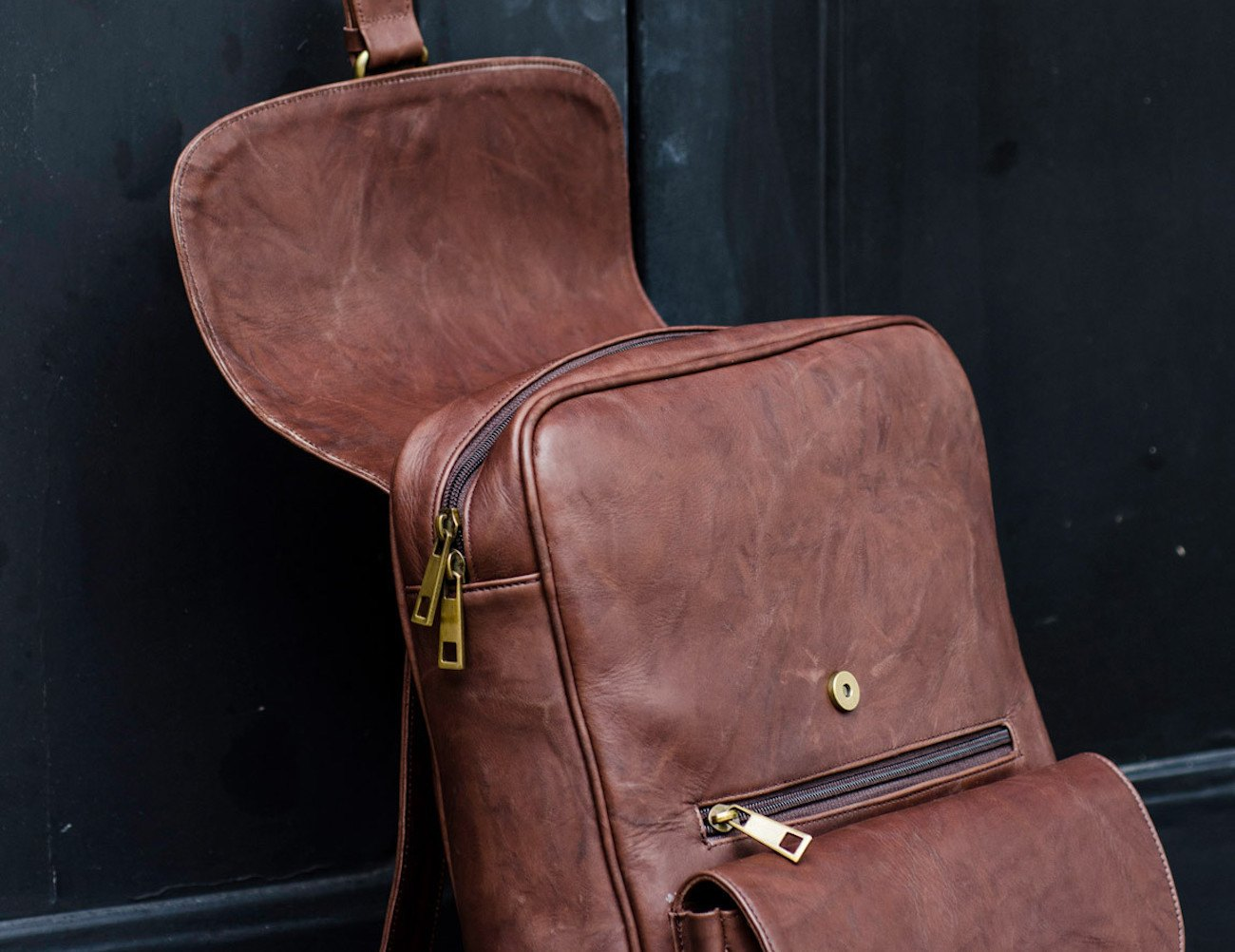 Rustic Brown Leather Laptop Backpack » Gadget Flow