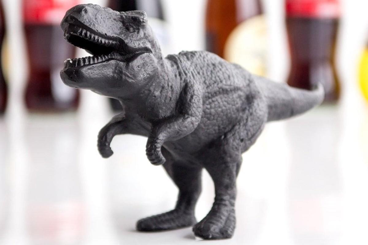 T-Rex Cast Iron Bottle Opener is a uniquely functional design element