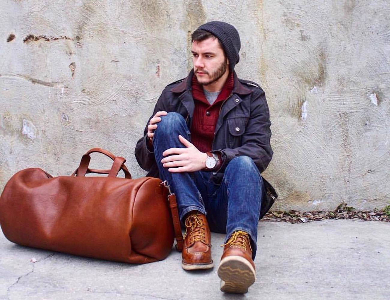 This Is Ground Roundtrip Leather Duffel
