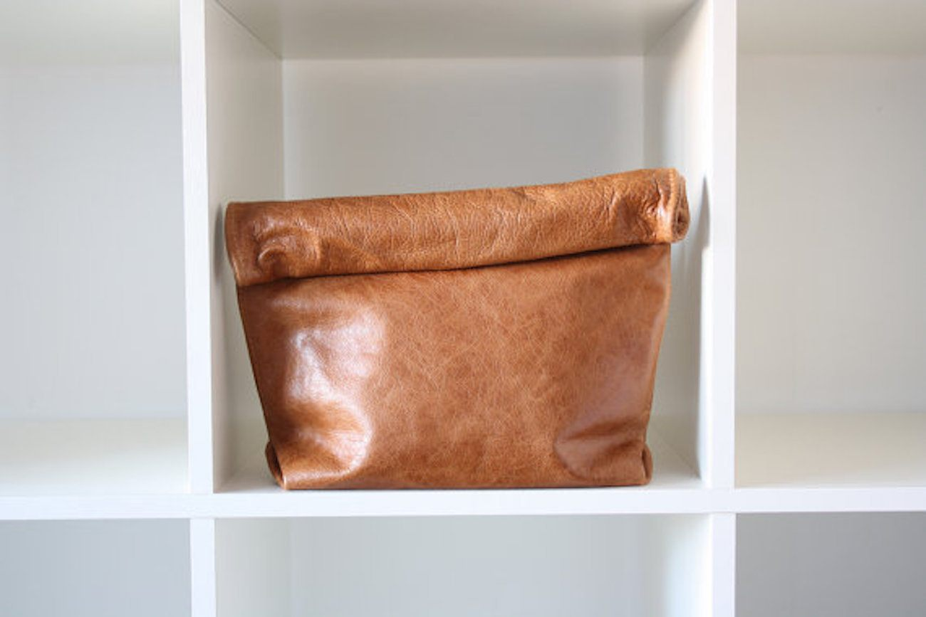 Barneto Whisky Brown Leather Clutch