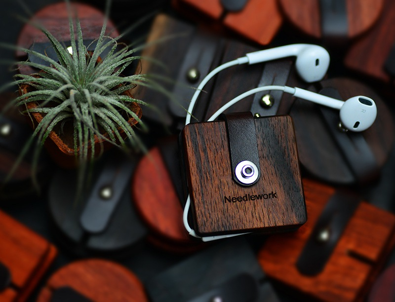 Leather and Wood Earphones Cable Winder