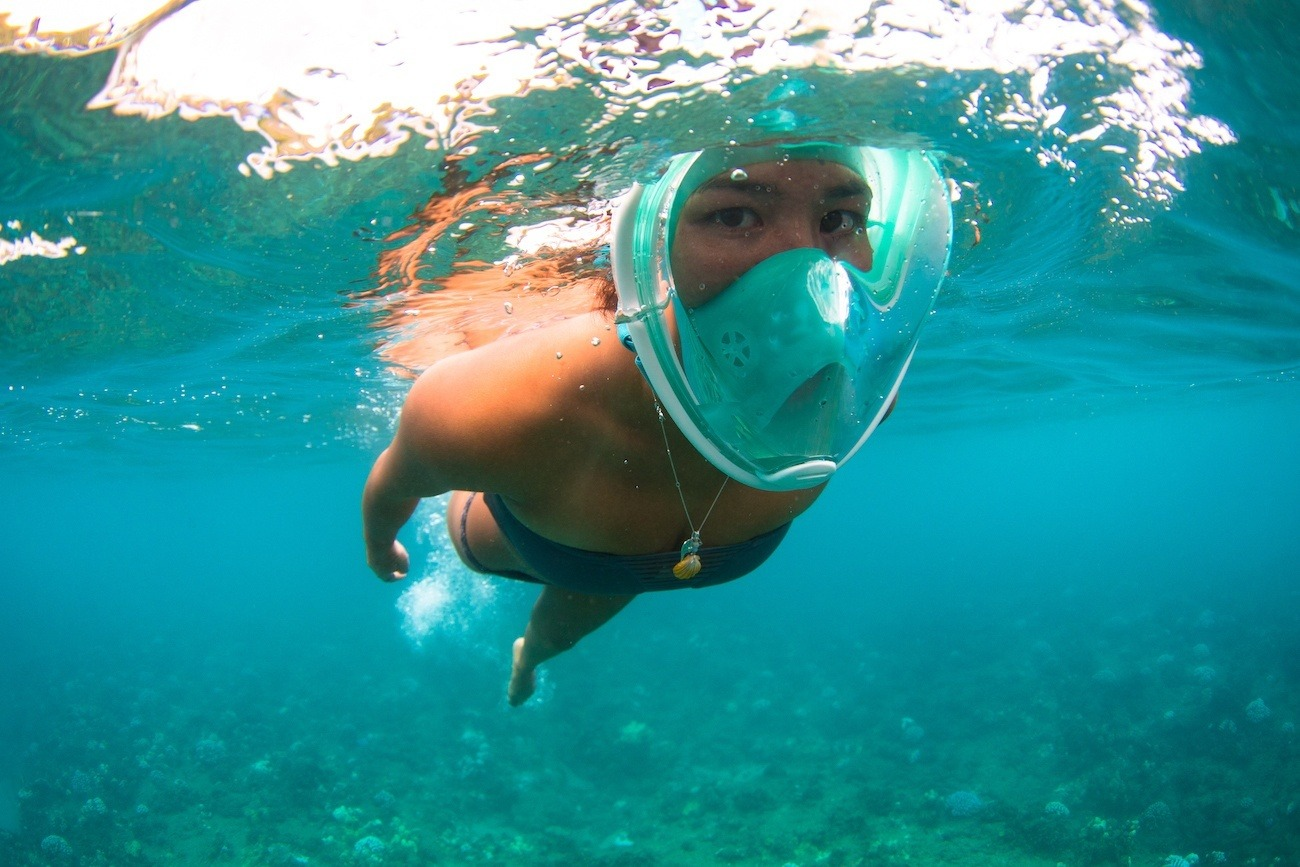 The H2o Ninja Snorkel Mask has an attachment for your GoPro
