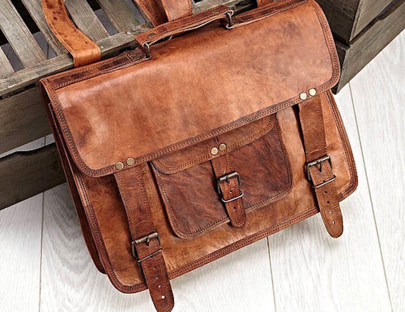 Vintage+Haversack+Goat+Leather+Bag