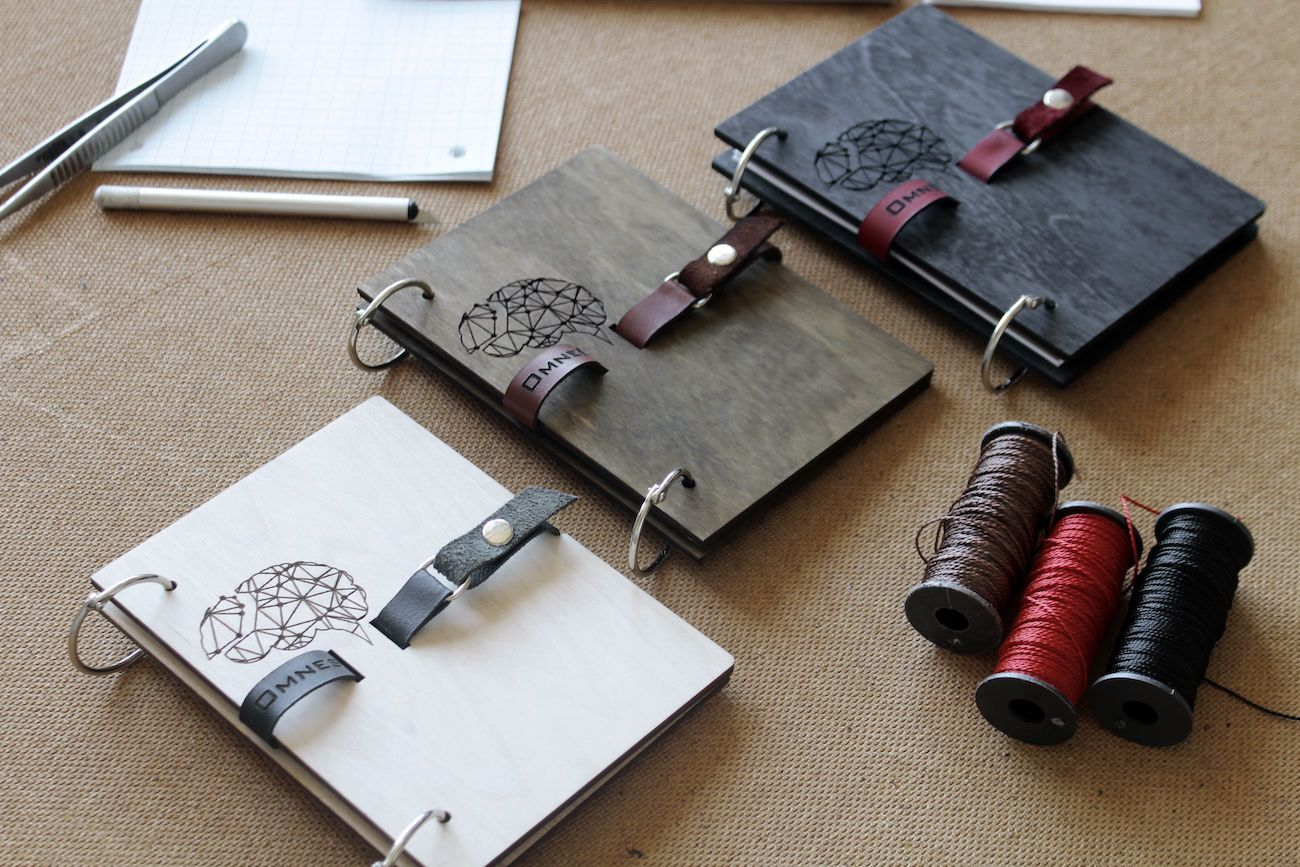 OMNES Wood Leather Notebook