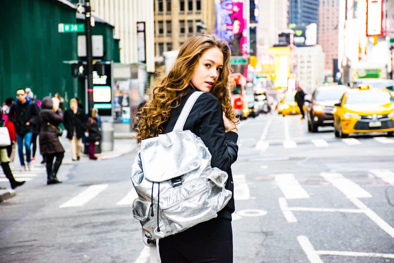Quilted Koala Metallic Backpack