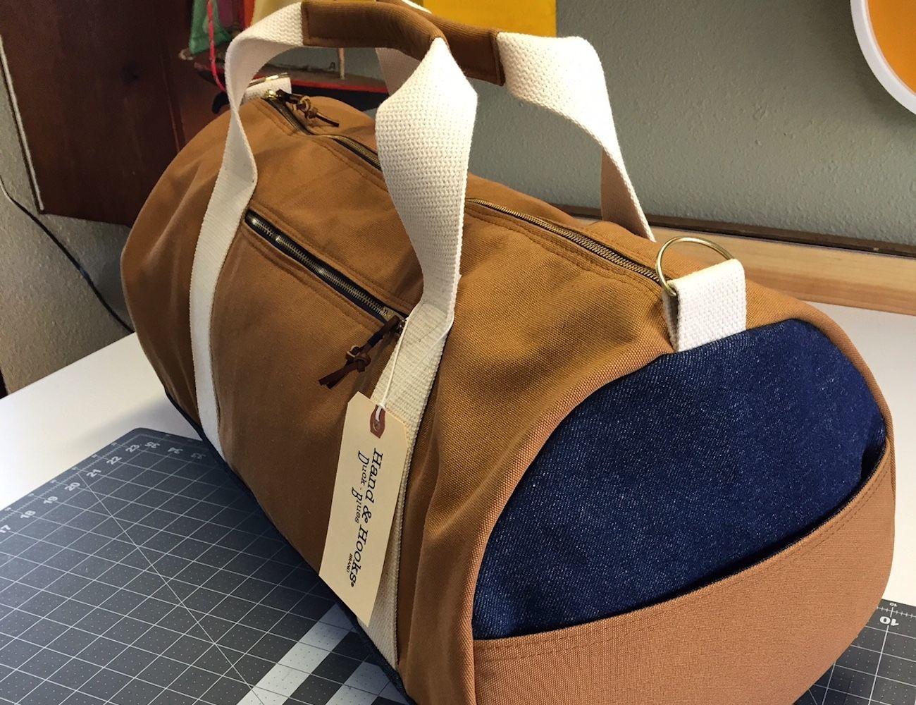 Brown Duck Cloth Duffle Bag