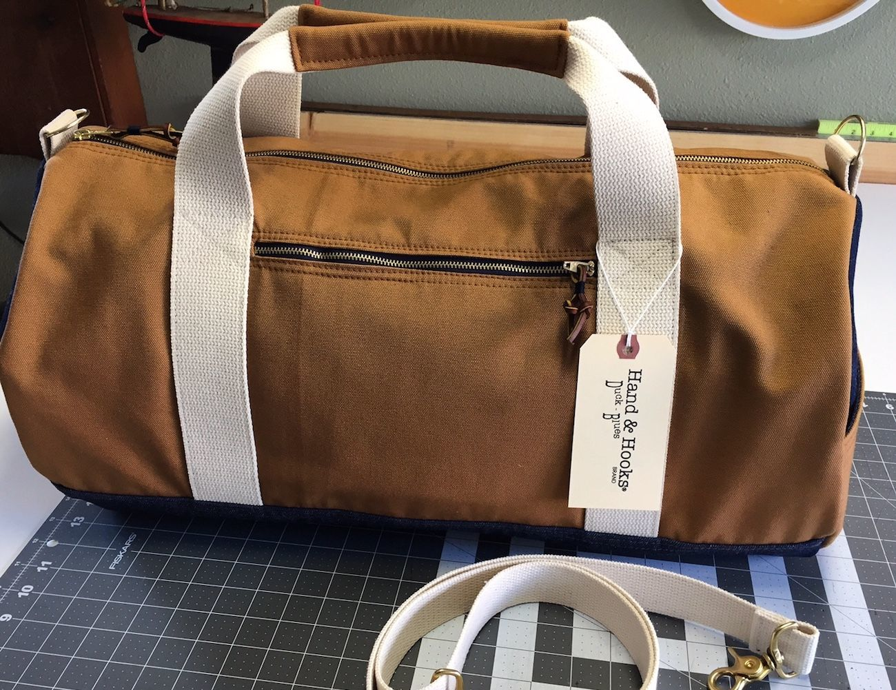Brown Duck Cloth Duffle Bag