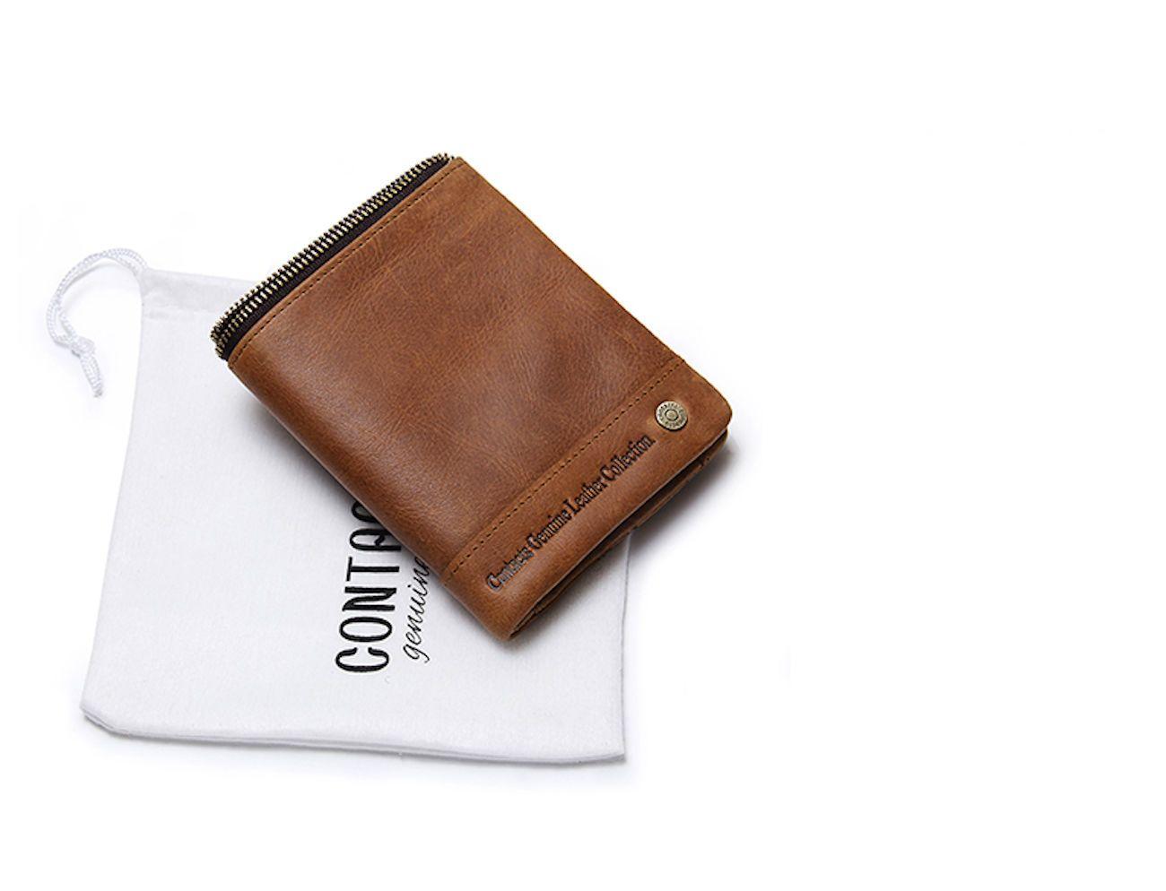 Genuine Leather RFID Zipper Wallet