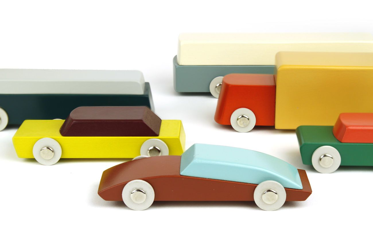 Ikonic Modern Duotone Wood Toy Cars