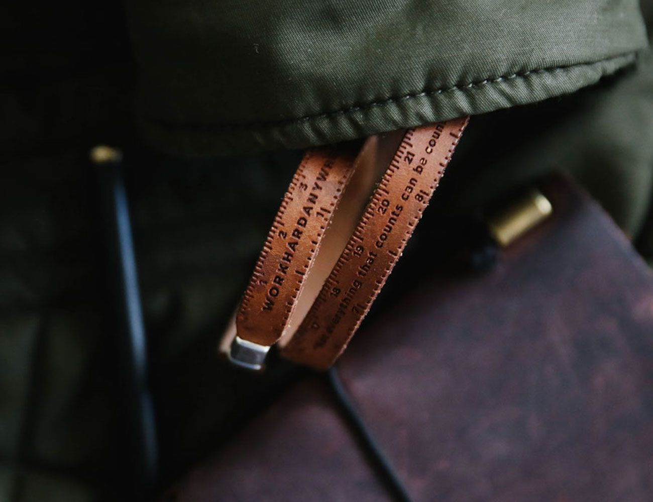 Workhard Anywhere Leather Ruler Bracelet