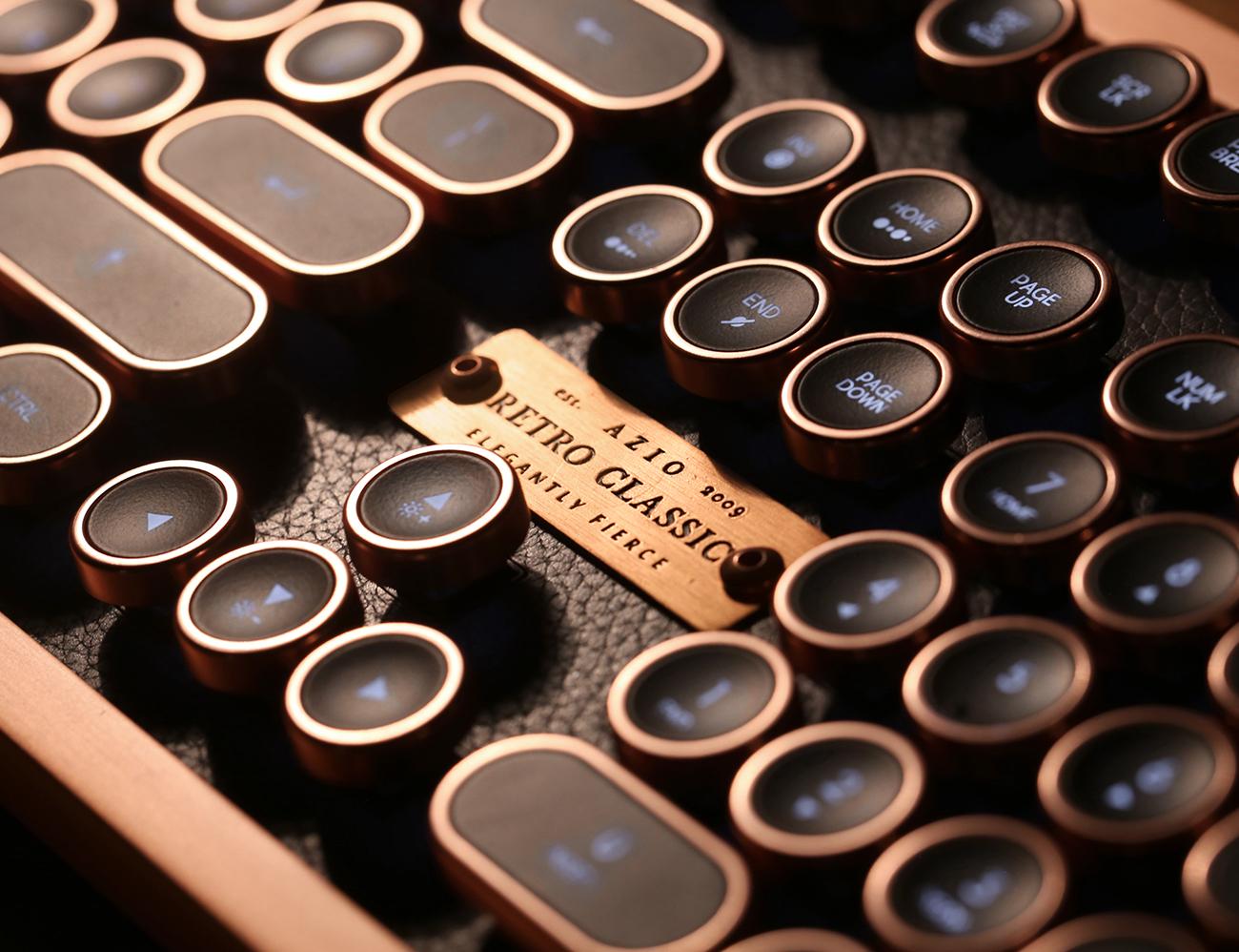 Azio Luxury Vintage Bluetooth Keyboard
