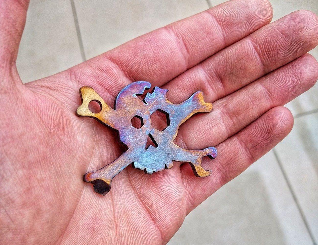 Cracked Skull Keychain Multi-Tool