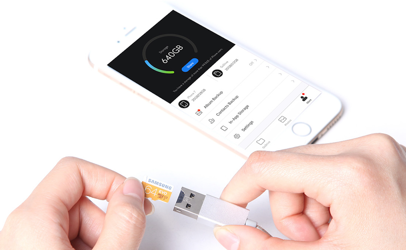 GoDrive Pro MicroSD Reader iPhone Cable