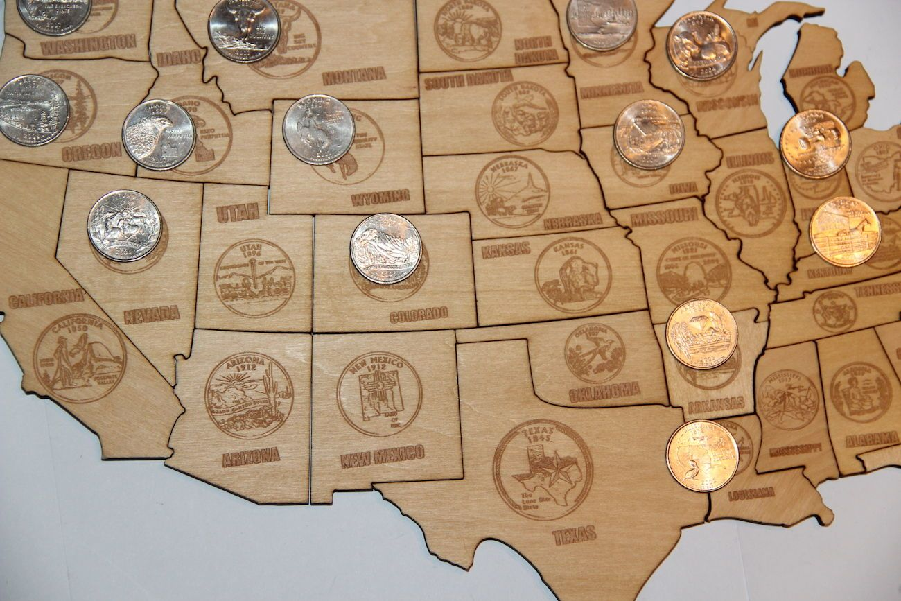 Magnetic Wood USA Puzzle Map