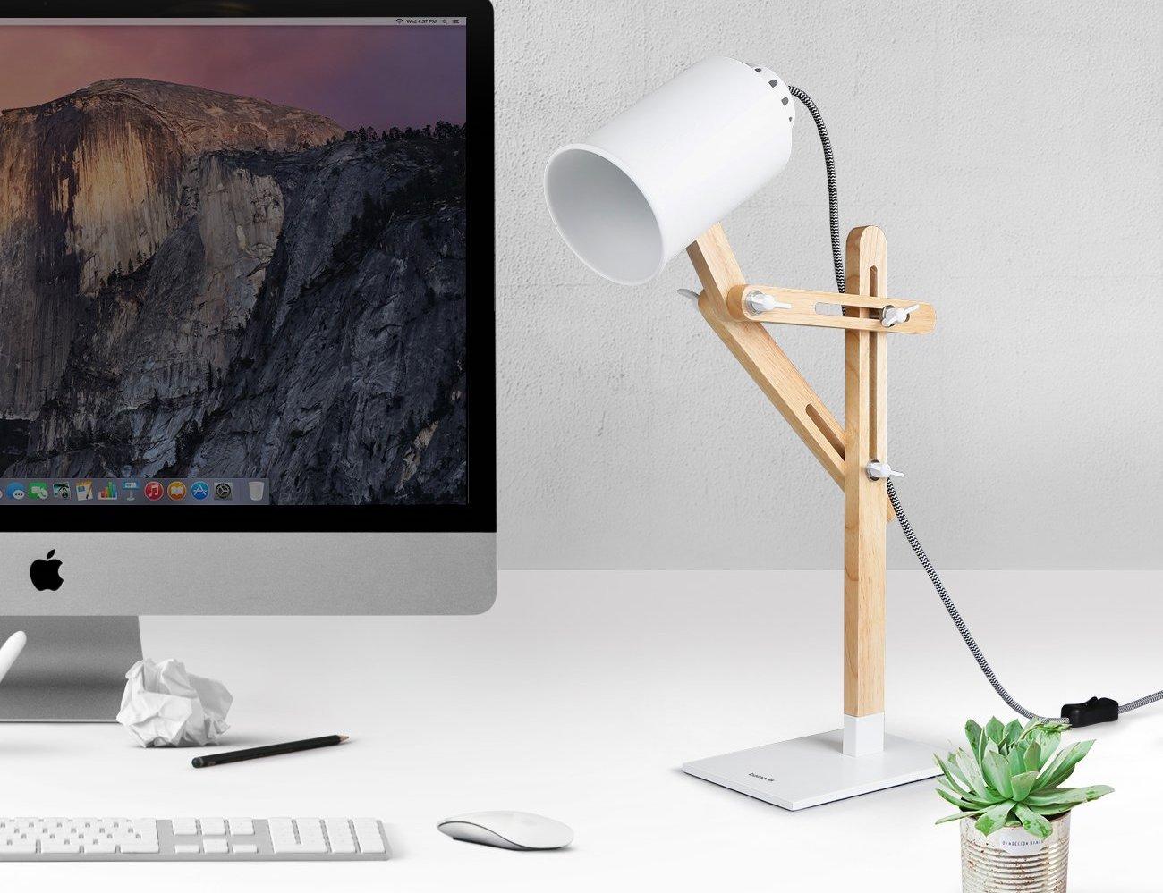 Wooden desk lamp -  Tomons Led Multi Angle Wood Desk Lamp