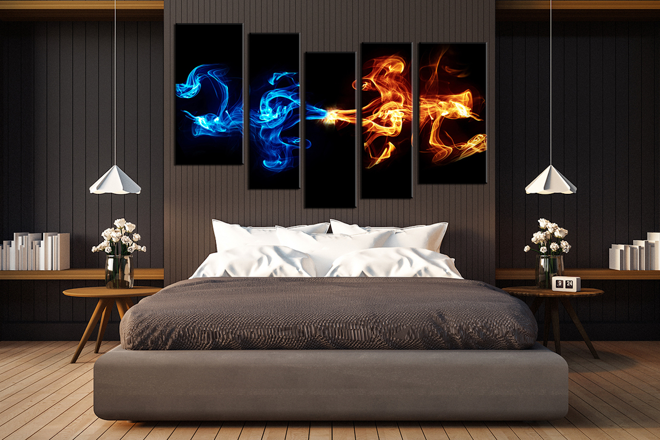 Abstract+5-Piece+Smoke+Canvas+Wall+Art