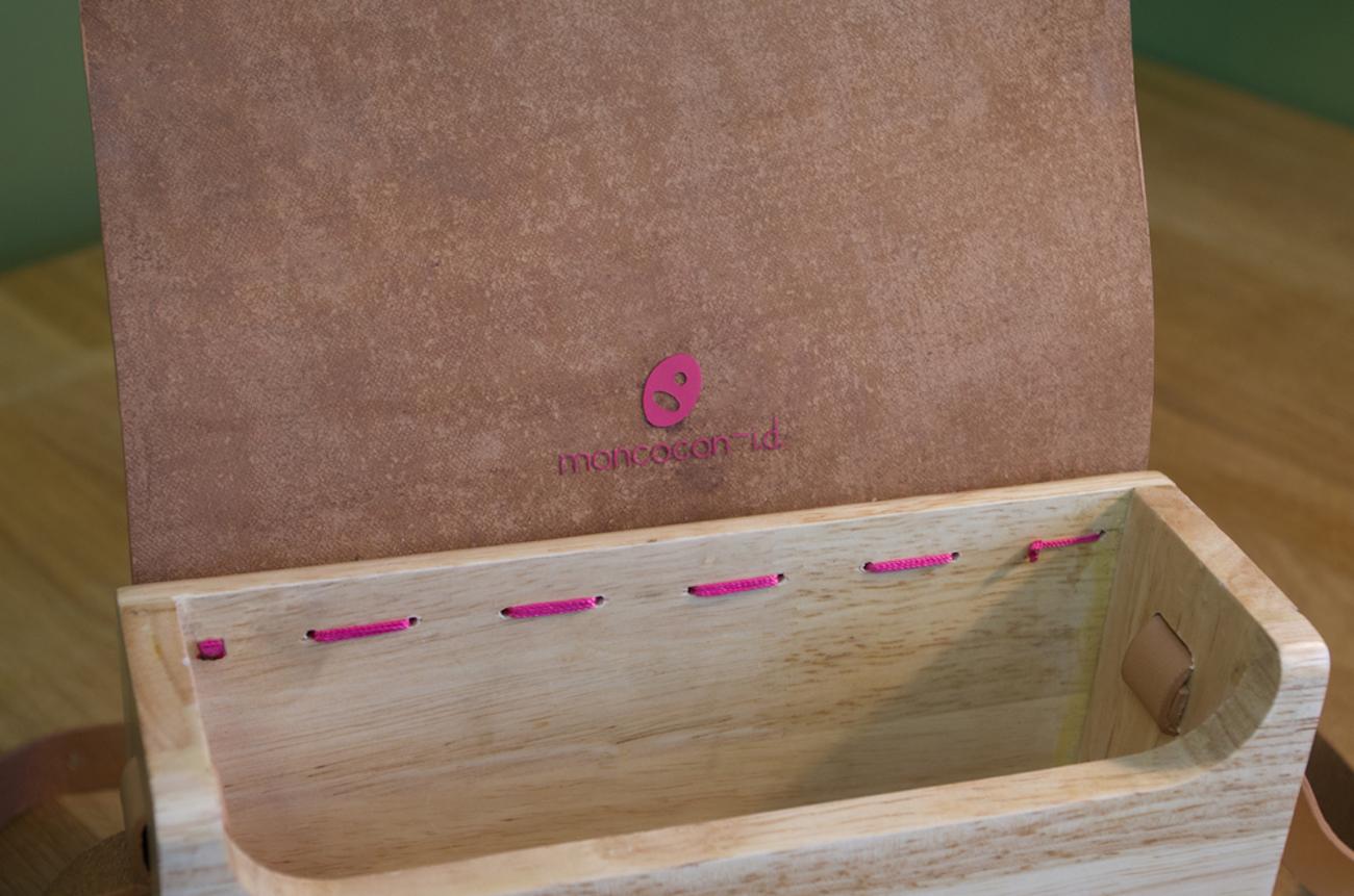 Boisboite Leather Wooden Sling Bag