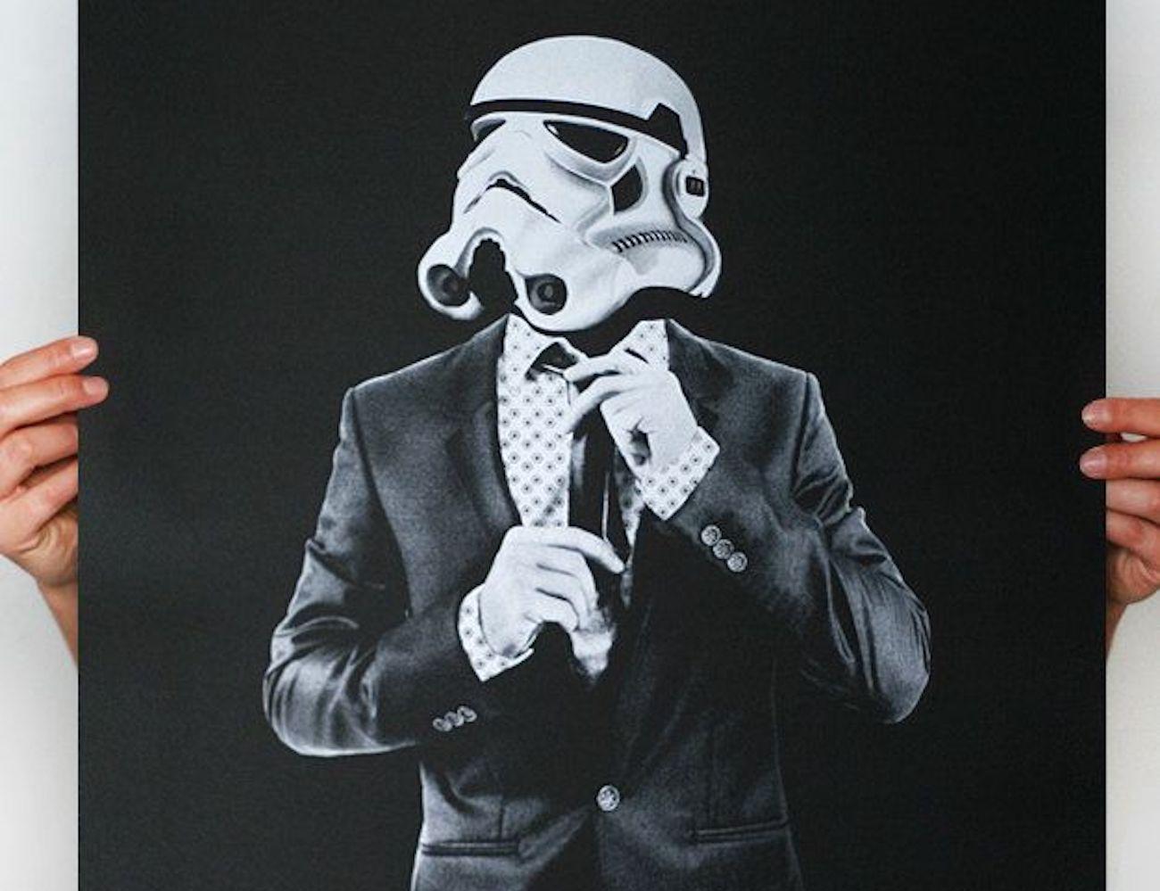 classy stormtrooper suit and tie poster gadget flow
