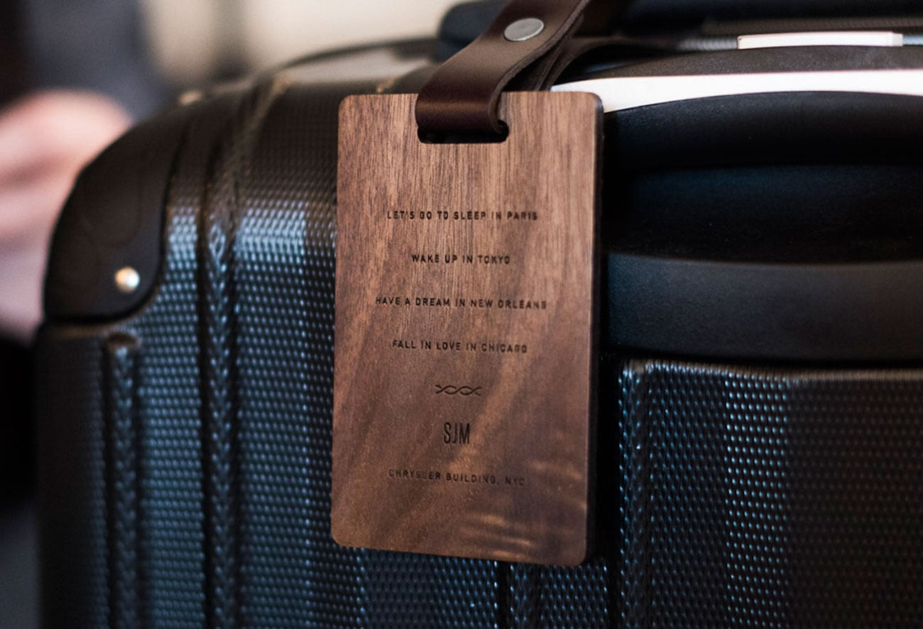 New Custom Customizable Wood Luggage Tag