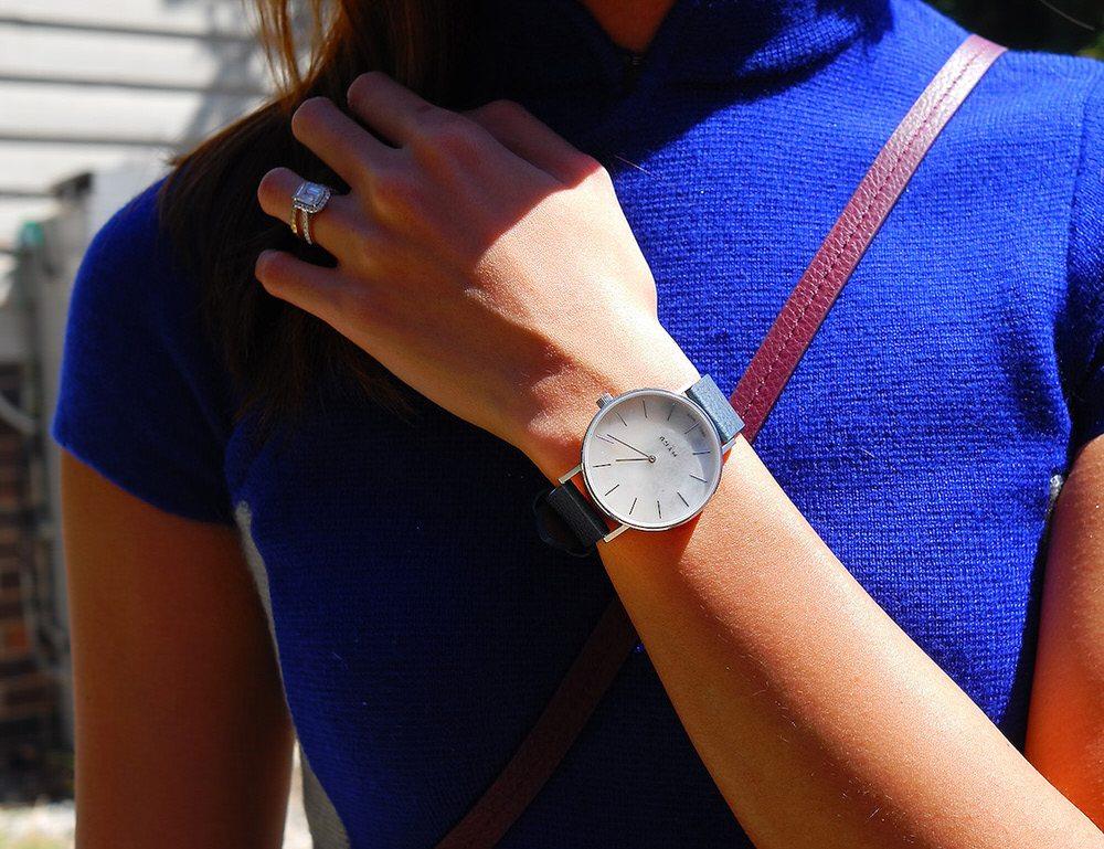 MYKU White Marble Classic Watch