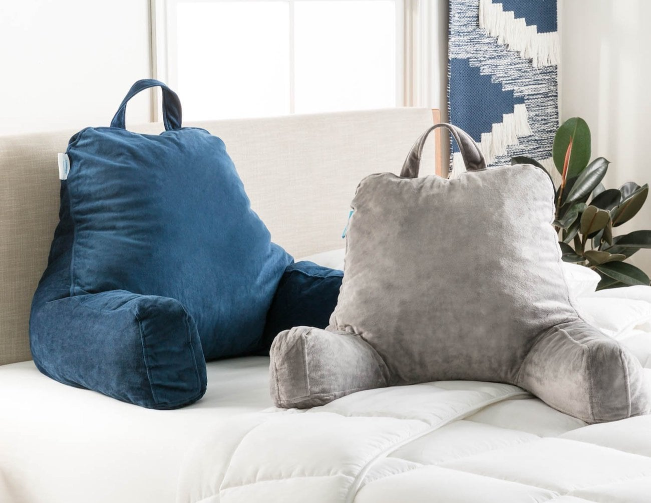 blue and gray Reading pillows