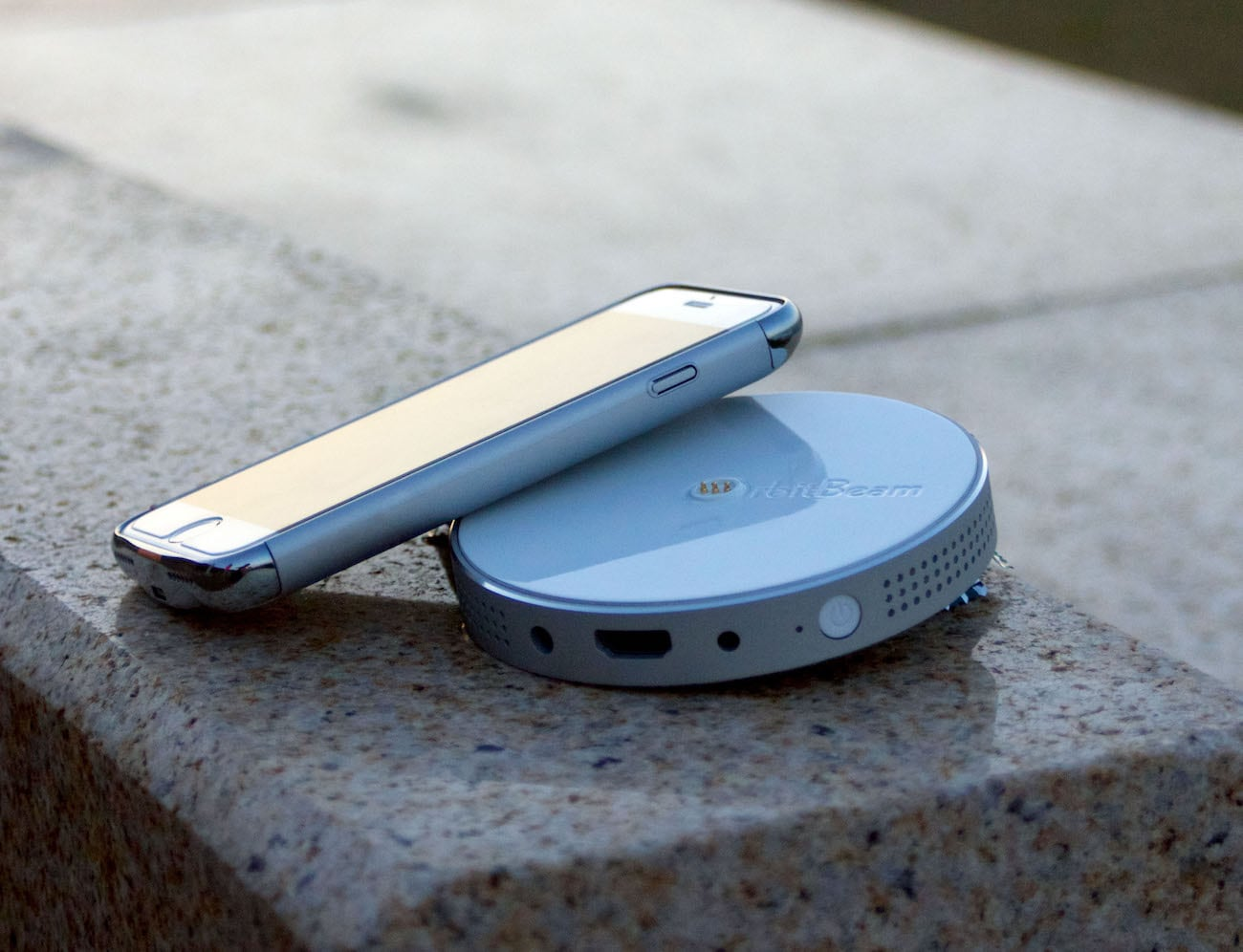 Orbitbeam portable iphone projector gadget flow for Iphone projector portable