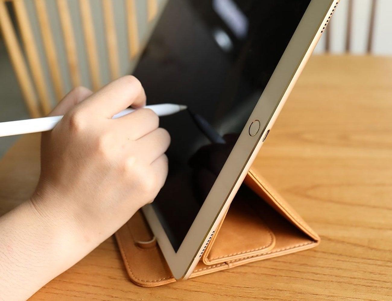 toovren Leather Apple Pencil iPad Pro Stand Case