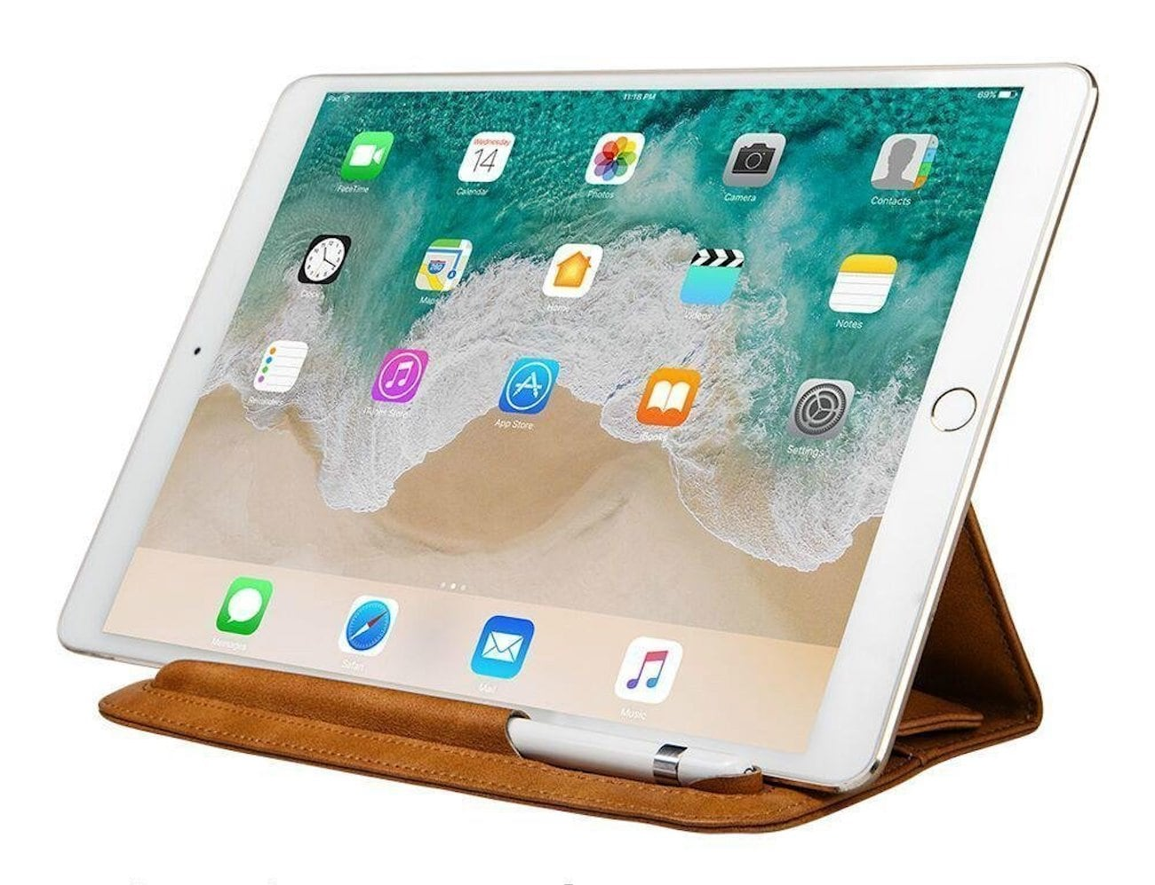 toovren Leather Apple Pencil iPad Pro Stand Case