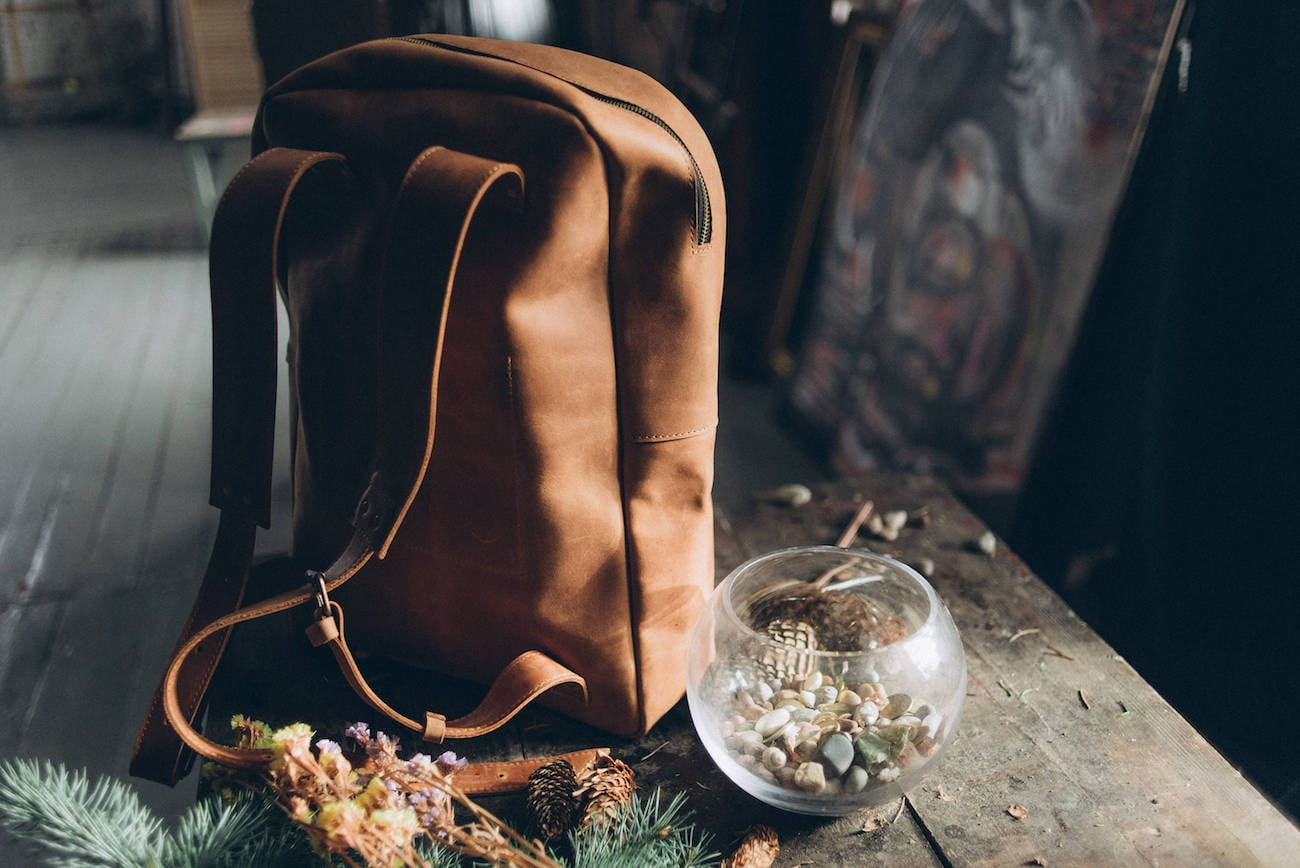 BBE College Leather Minimalist Backpack
