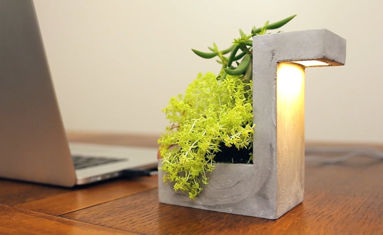 Kikkerland Concrete Desk Lamp Planter
