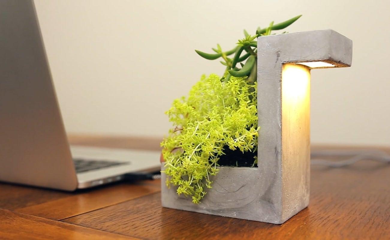 Kikkerland Concrete Desk Lamp Planter loading=