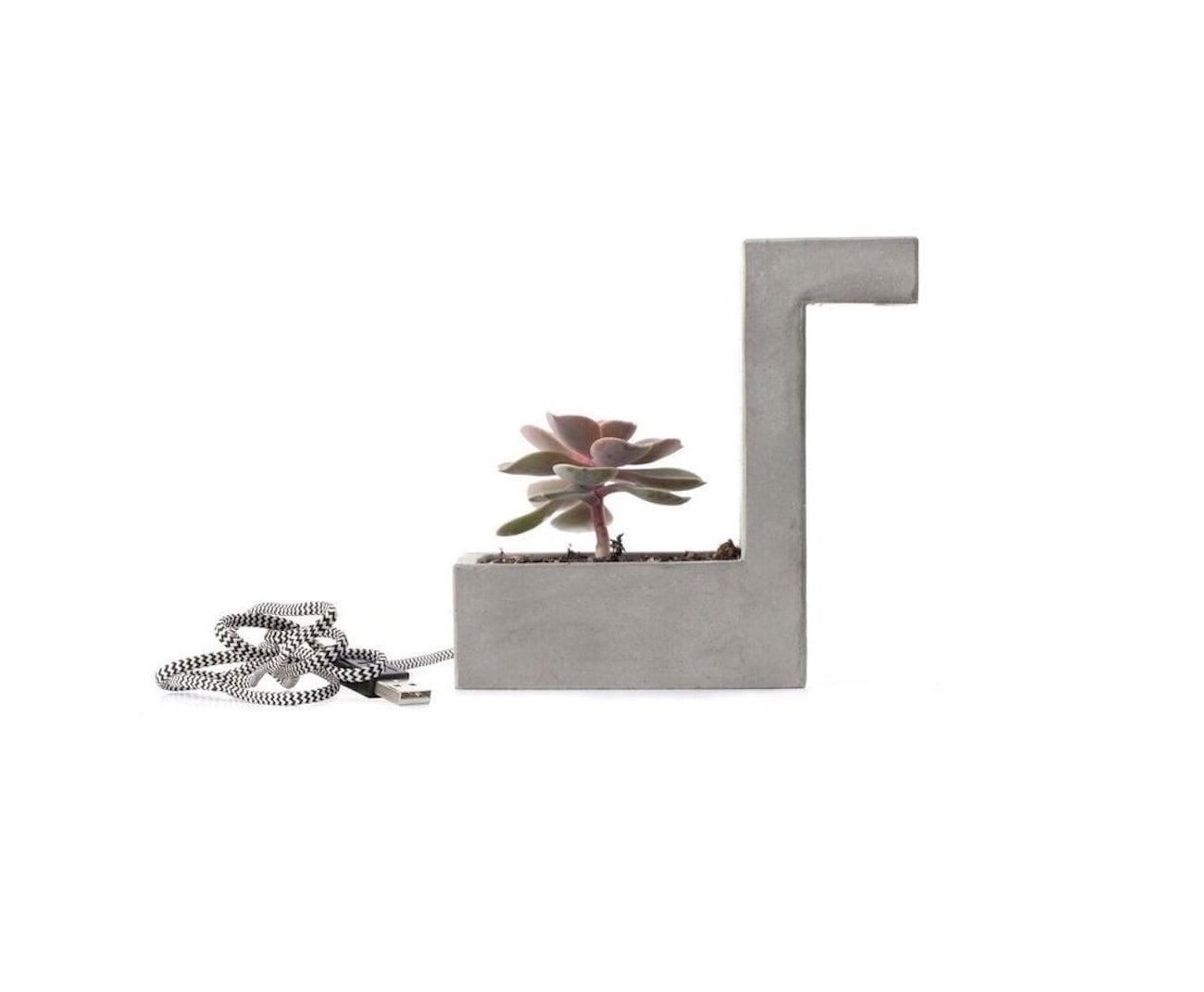 Kikkerland Concrete Desk Lamp Planter