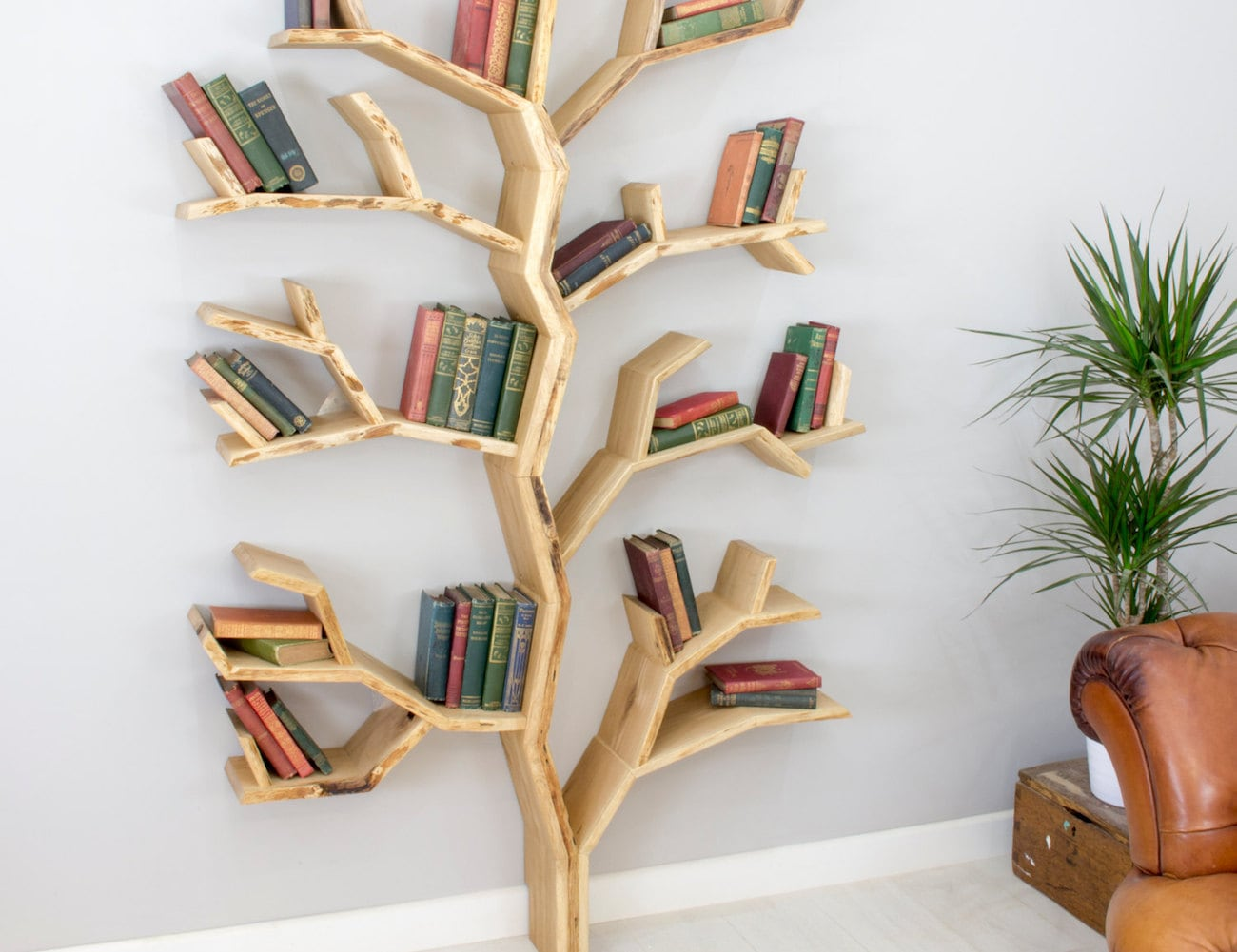 BespOak+Elm+Tree+Wood+Bookshelf