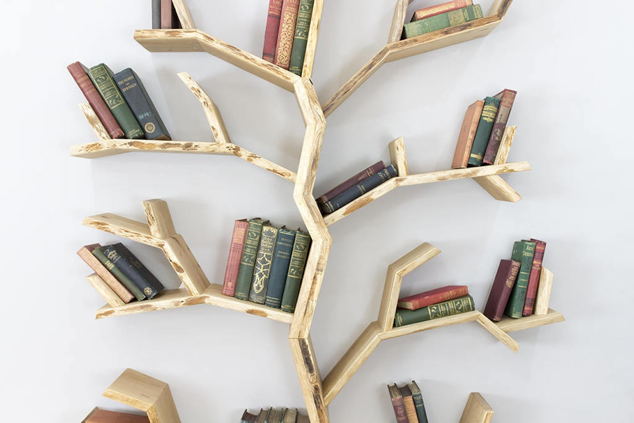 Bespoak Elm Tree Wood Bookshelf Gadget Flow