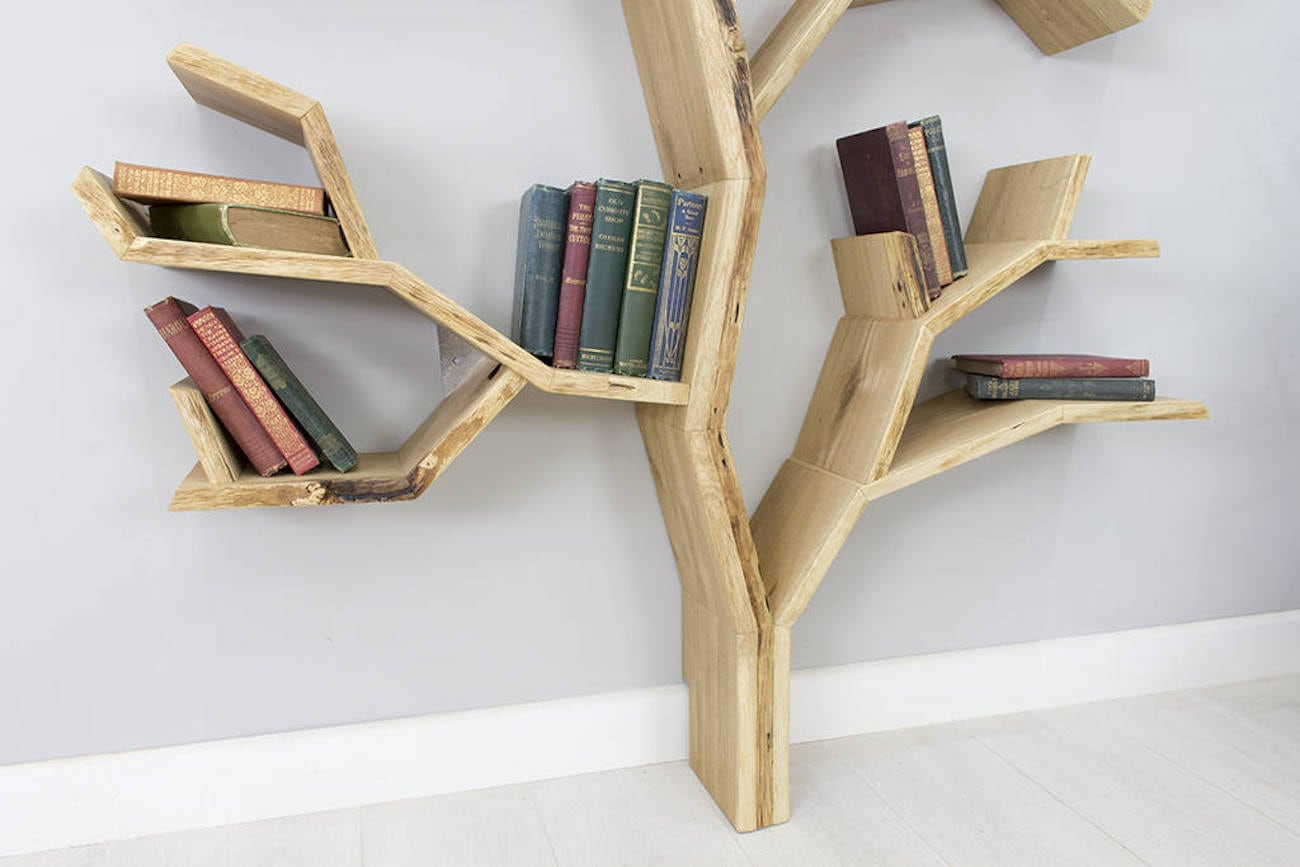 BespOak Elm Tree Wood Bookshelf