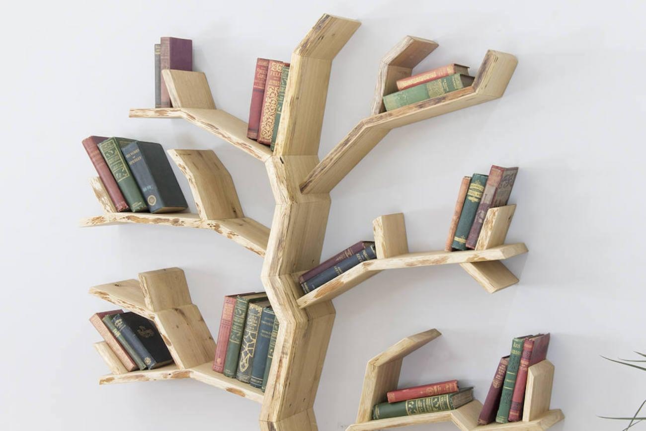 bespoak elm tree wood bookshelf gadget flow