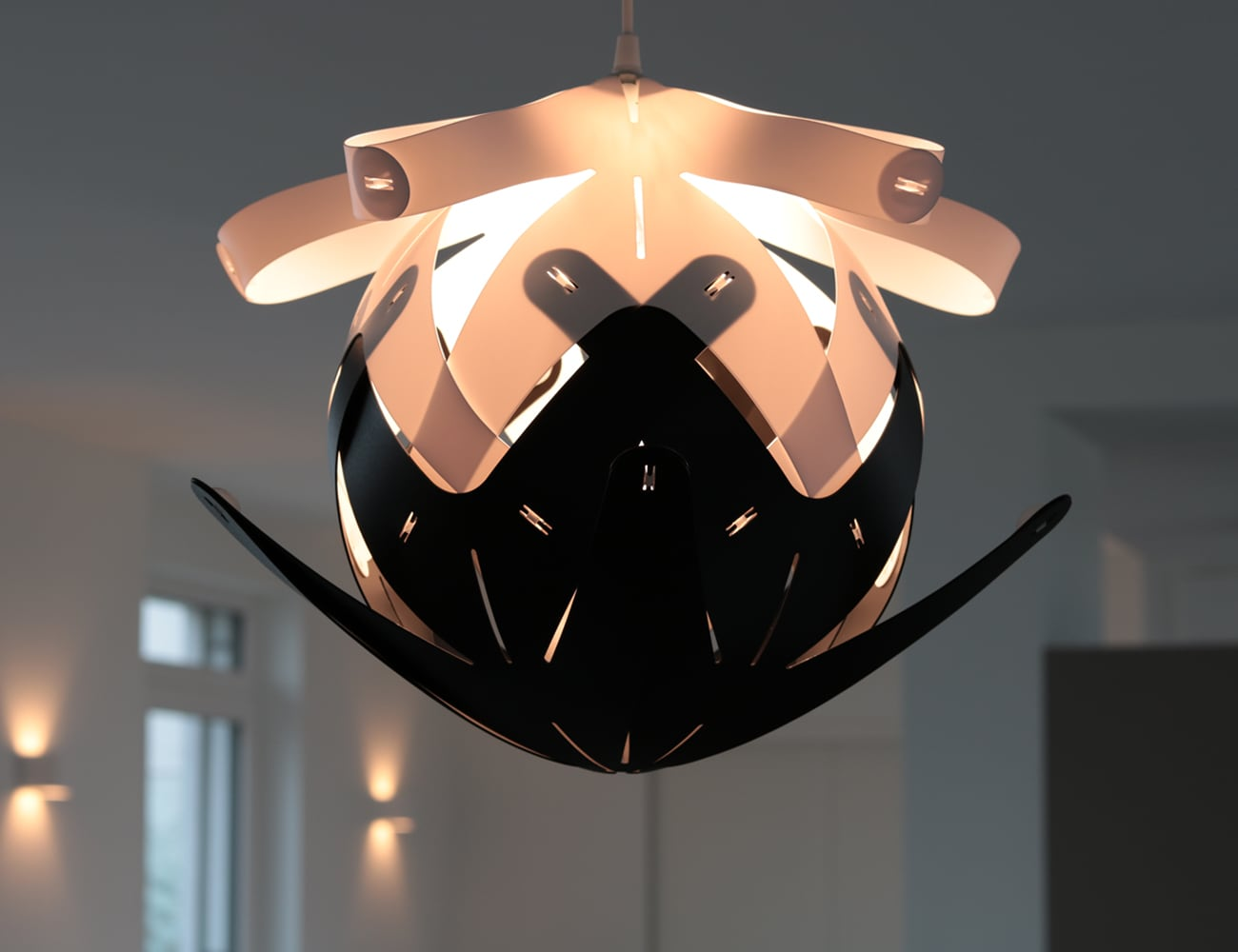 The beautiful Button Loop lampshade can change shape in a minute