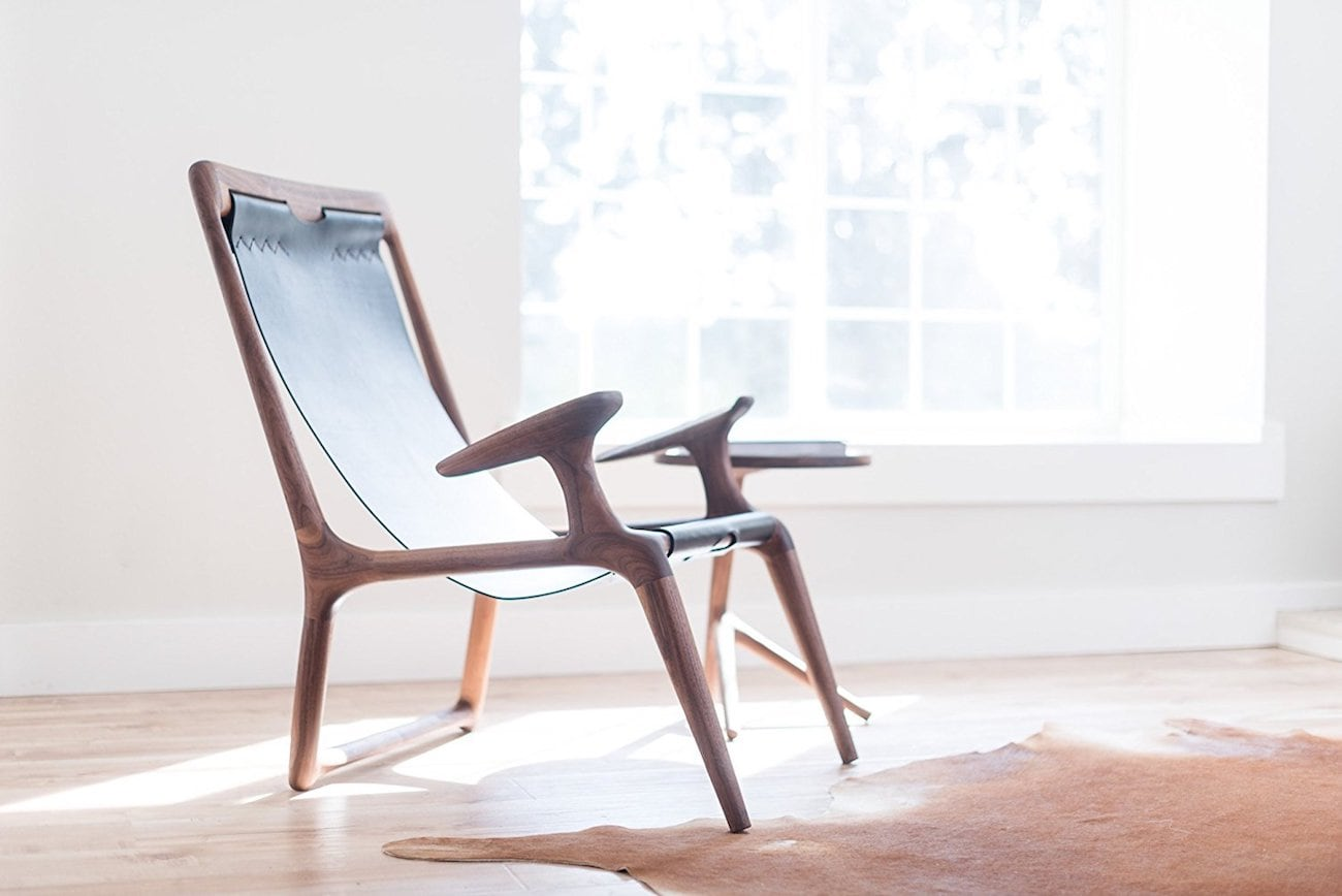 Fernweh Sling Wood Leather Chair