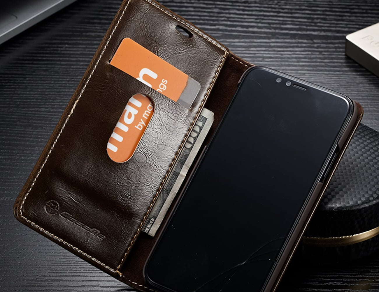 Flip iPhone X Leather Wallet Case