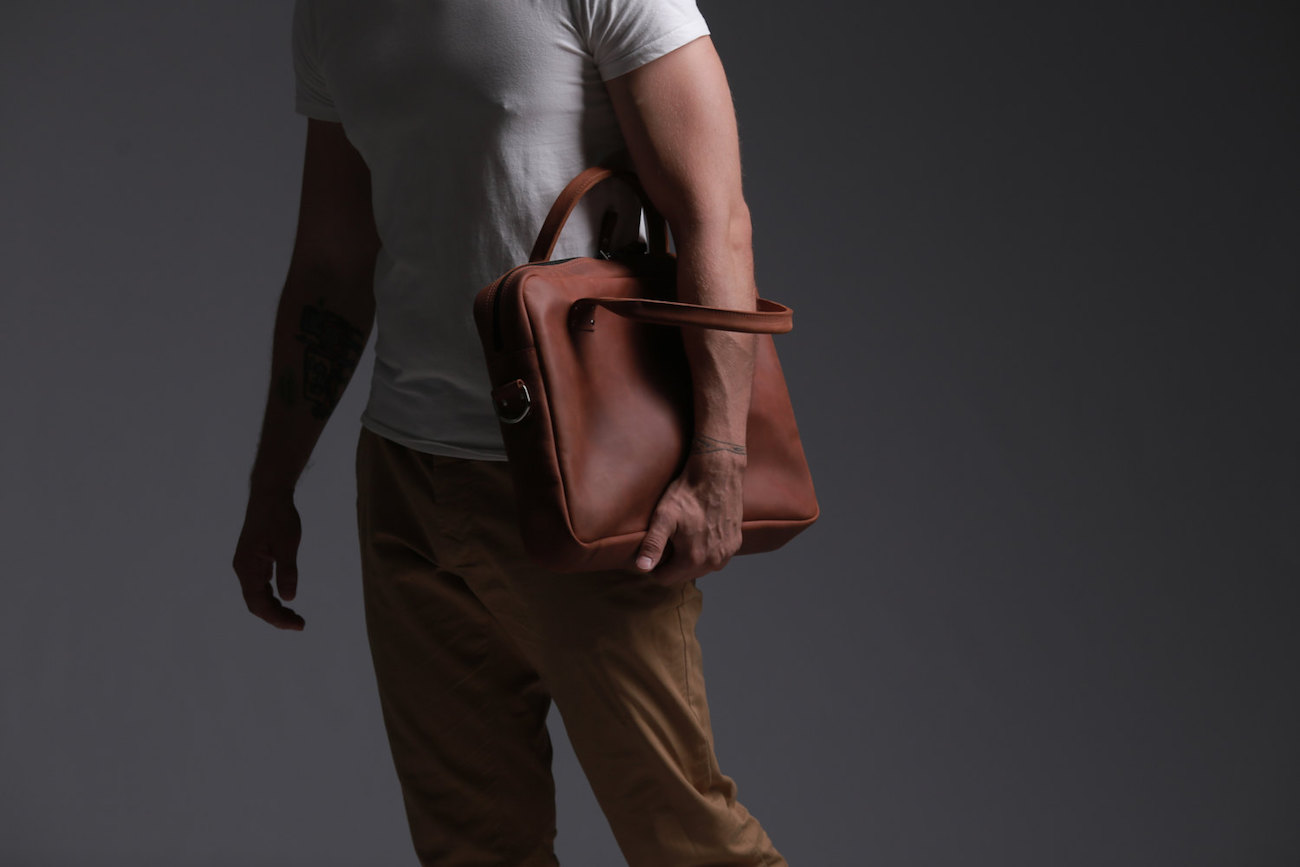 Handmade Leather Messenger Bag fits laptops up to 15″