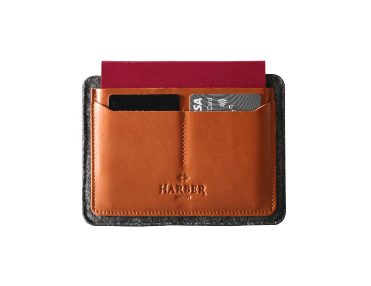 Haber London Flat Leather Passport Holder
