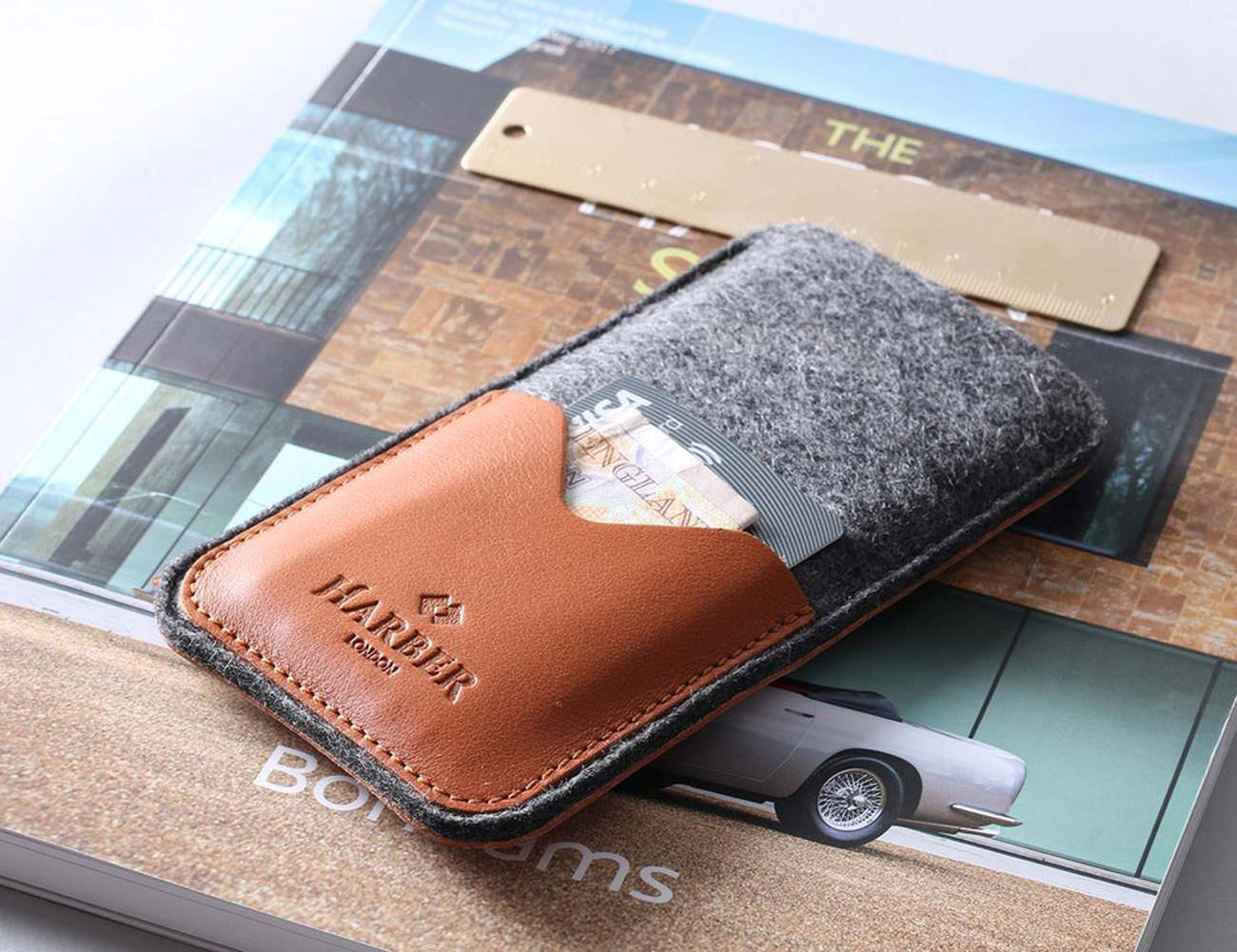 ec0fc42710b7 Harber London Leather Smartphone Sleeve Wallet