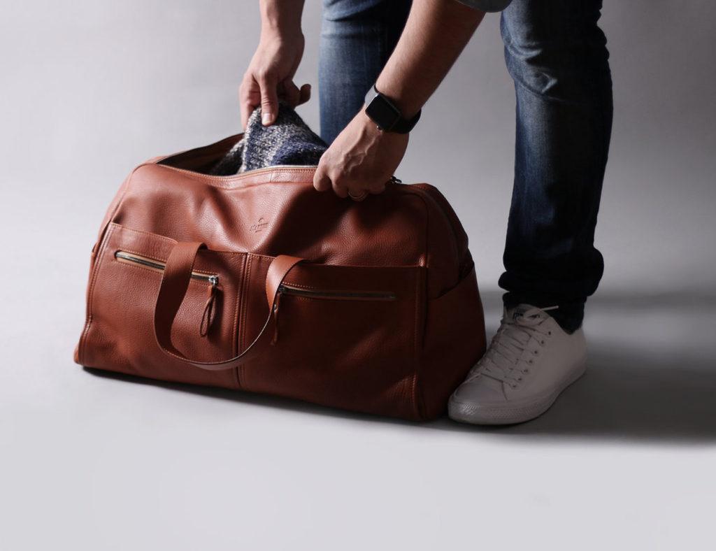 Harber+London+Spacious+Leather+Weekender+Bag