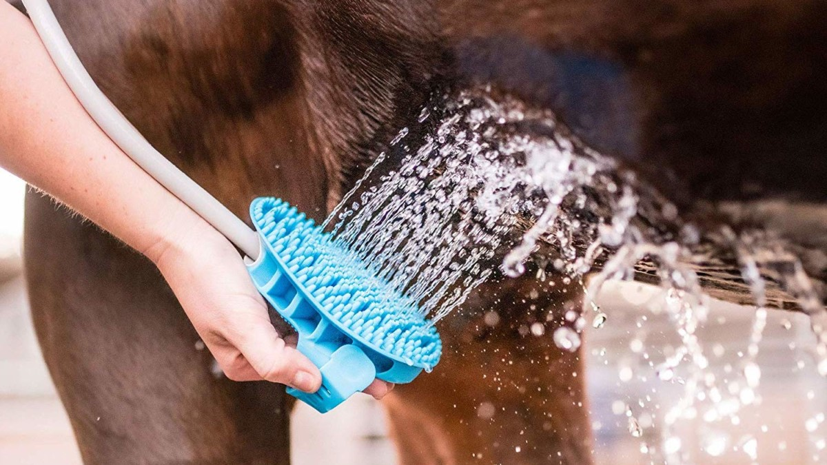 Aquapaw Wearable Pet Bathing Tool makes it easy to give your dog or horse a bath