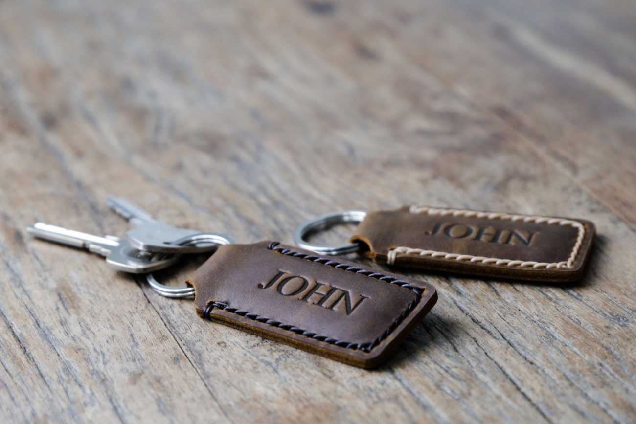 JooJoobs Personalized Leather Keychain